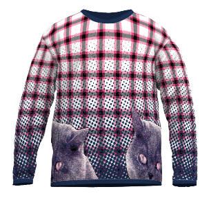 Feinstrick Pullover Katze