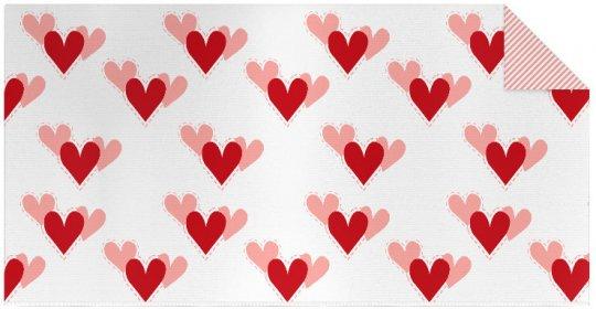 Knit fabric panel hearts
