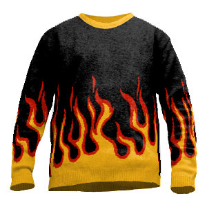 Sweater in flames