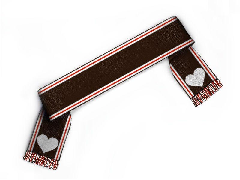 Schal gestalten mit Herz Fanschal in braun rot weiss