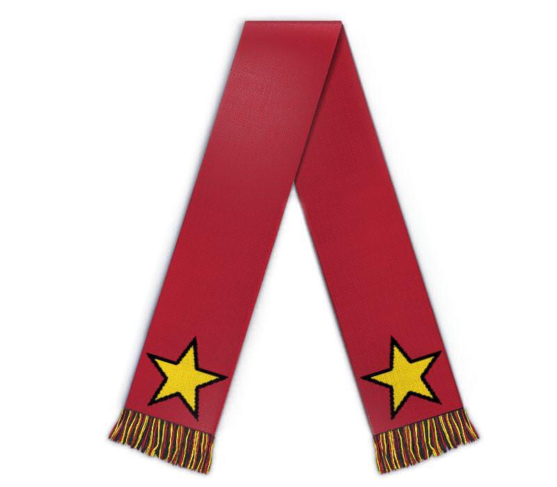Schal gestalten mit Sternen Fanschal individuell rot gelb
