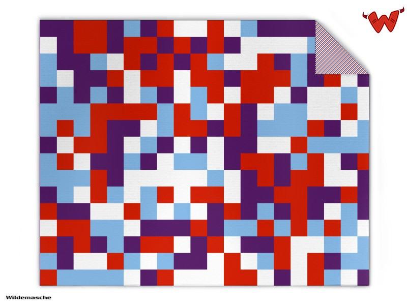 Strickdecke 4-farb Pixel Muster gestalten | Wildemasche